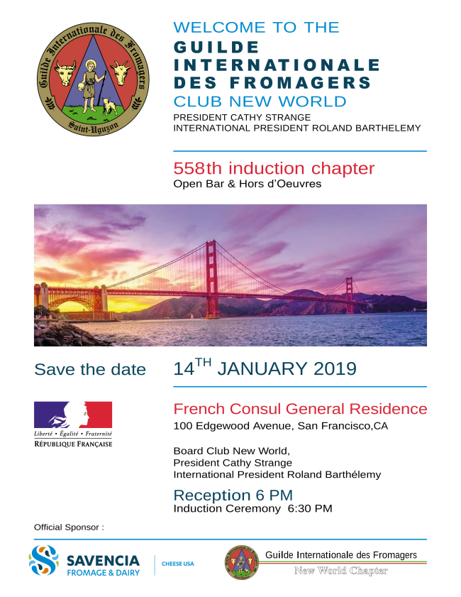 Guilde des Fromagers New World Chapter 558th induction chapter information flyer